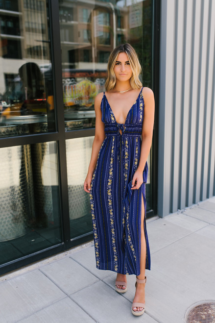 V-Neck Tie Front Smocked Printed Maxi - Navy Multi - FINAL SALE