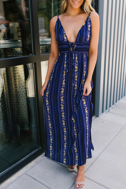 V-Neck Tie Front Smocked Printed Maxi - Navy Multi