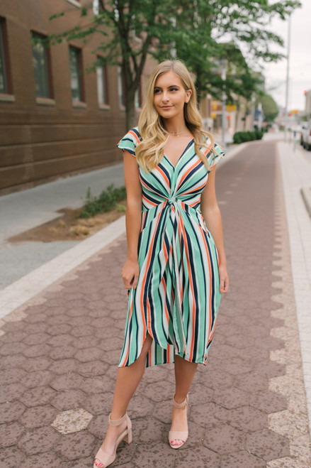Cap Sleeve Twisted Knot Striped Dress - Green Multi  - FINAL SALE