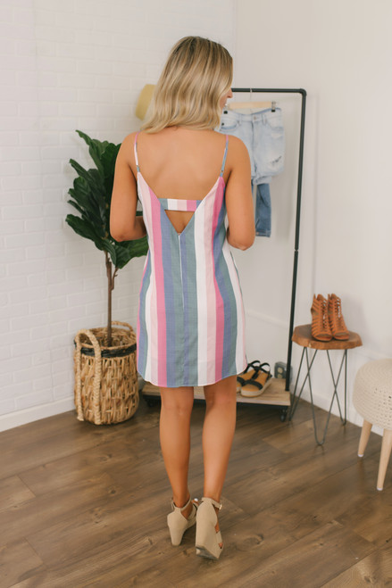 Sunset in Paradise Striped Dress - Pink Multi