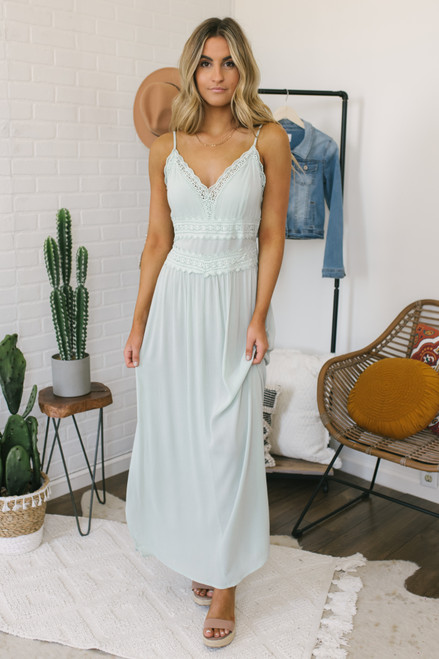 Selene V-Neck Crochet Detail Maxi - Light Sage