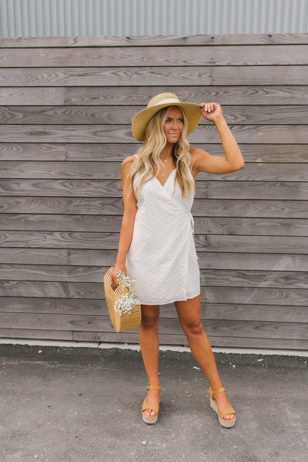Pop the Bubbly Eyelet Wrap Dress - White - FINAL SALE