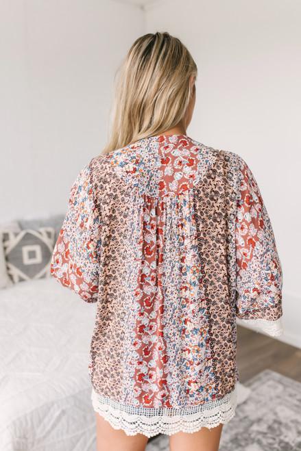 Crochet Detail Mixed Floral Kimono - Rose Multi  - FINAL SALE