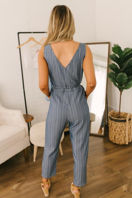 Striped  Drawstring Chambray Jumpsuit - Denim Blue Multi