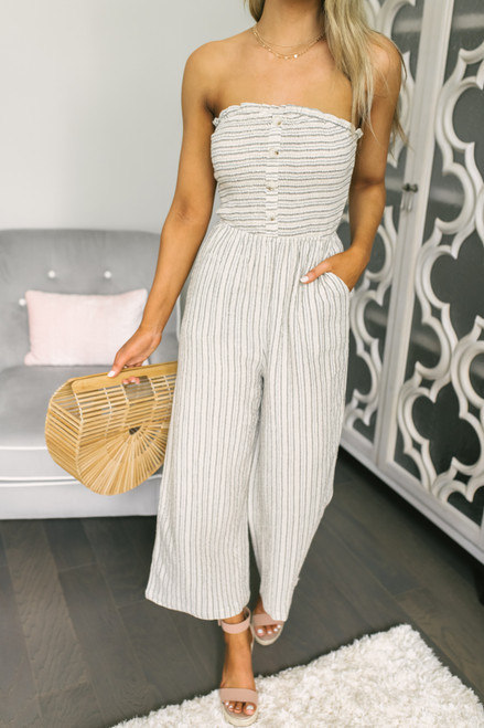 Strapless Smocked Button Detail Striped Jumpsuit - Taupe Multi - FINAL SALE