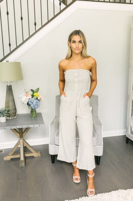 Strapless Smocked Button Detail Striped Jumpsuit - Taupe Multi