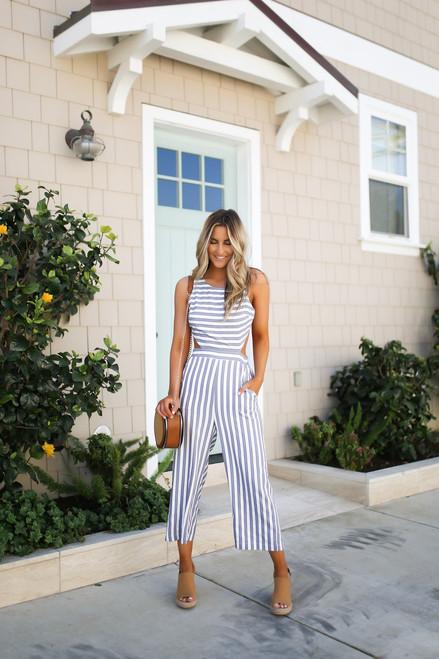 California Coast Open Back Striped Jumpsuit - Blue/White