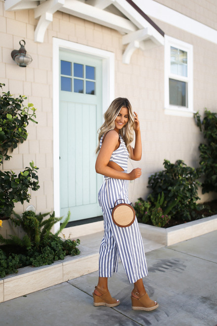 California Coast Open Back Striped Jumpsuit - Blue/White