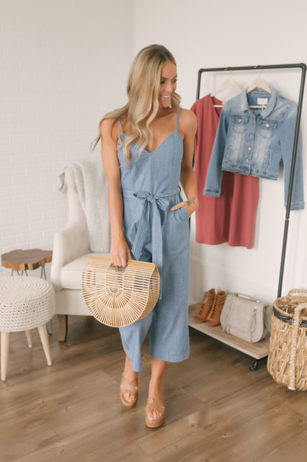 Tie Waist Denim Crop Jumpsuit - Medium Wash