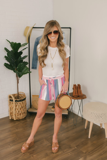 Sunset in Paradise Striped Shorts - Pink Multi - FINAL SALE