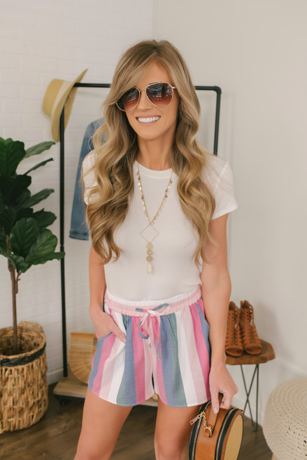 Sunset in Paradise Striped Shorts - Pink Multi