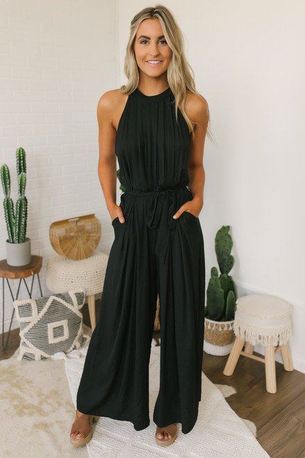 Halter Tie Waist Wide Leg Jumpsuit - Black - FINAL SALE