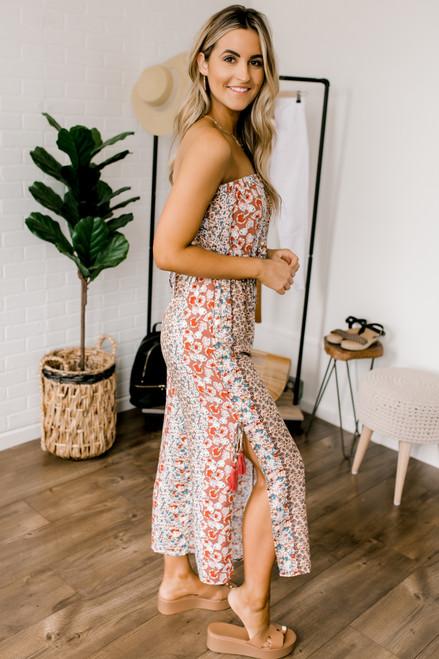 Strapless Tassel Detail Floral Slit Jumpsuit - Rose Multi  - FINAL SALE
