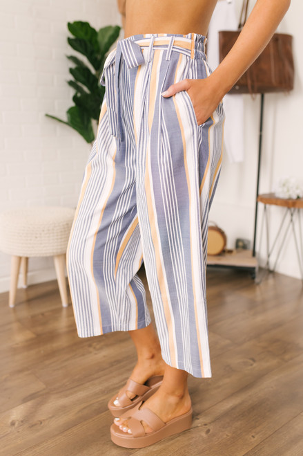 Tie Waist Sunburst Striped Cropped Pants - Blue/White/Orange - FINAL SALE