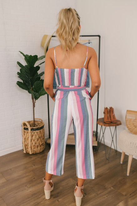 Sunset in Paradise Striped Jumpsuit - Pink Multi