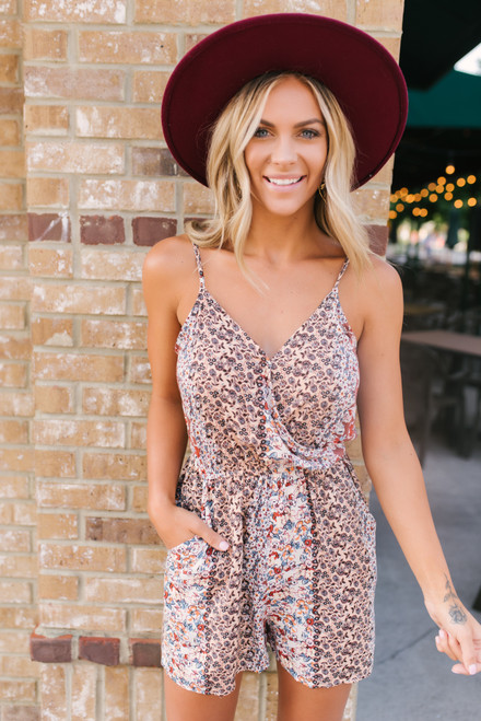 Surplice Mixed Floral Romper - Dusty Rose  - FINAL SALE