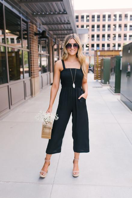 Downtown Manhattan Smocked Crop Jumpsuit - Black