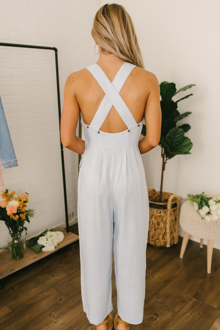 Button Detail Cross Back Chambray Jumpsuit - Light Wash
