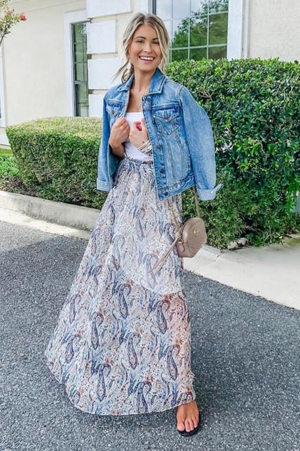 Paisley Pleated Maxi Skirt - Cream Multi