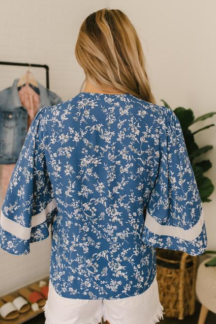 Kimono Sleeve Floral Wrap Top - Blue Multi