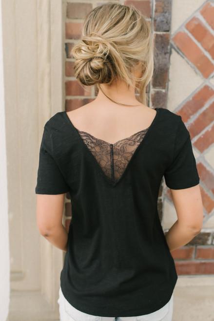 V-Neck Lace Detail Burnout Tee - Black