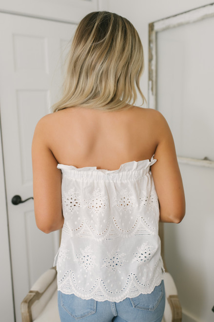 Strapless Scalloped Eyelet Top - White (ESTIMATED EARLY JULY)