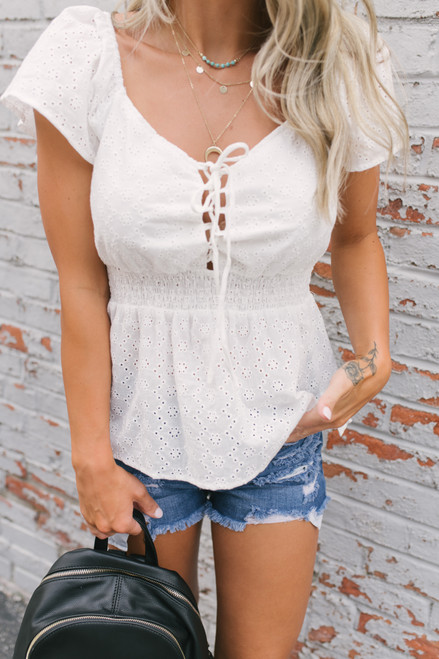 Smocked Waist Lace Up Eyelet Top - White  - FINAL SALE