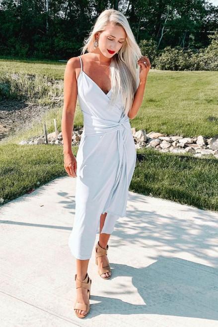 Grecian Goddess Draped Slit Maxi - Light Blue - FINAL SALE
