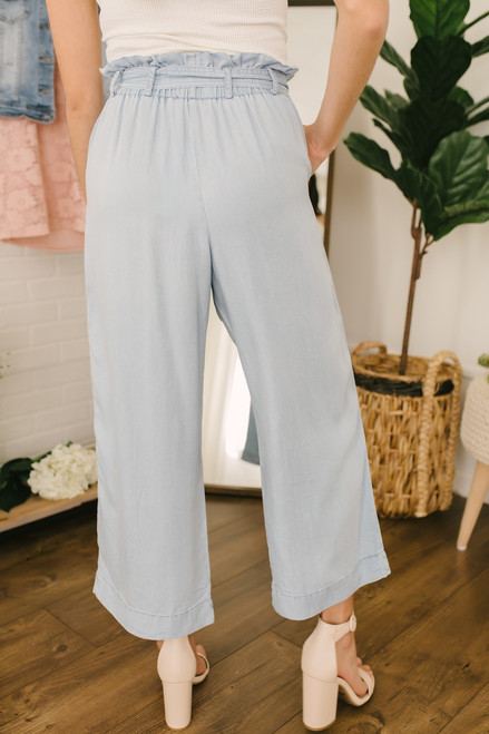 Tie Waist Chambray Paperbag Pants - Light Wash