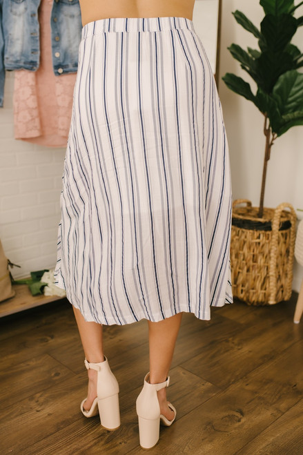 Button Down Striped Midi Skirt - White/Navy- FINAL SALE