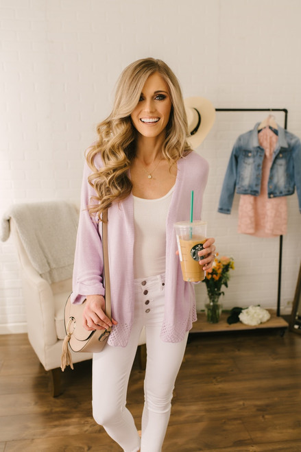 Cuffed Sleeve Crochet Circle Detail Cardigan - Lavender  - FINAL SALE