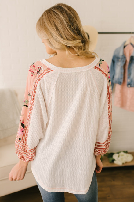 V-Neck Mixed Print Detail Waffle Top - Ivory Multi  - FINAL SALE