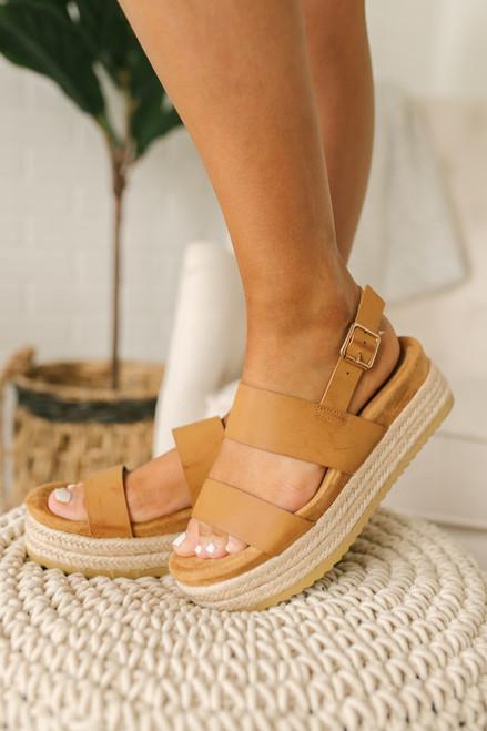 Spring Promenade Espadrille Platform Sandals - Tan