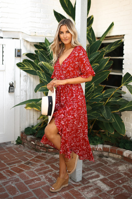 Faux Wrap High Low Floral Midi Dress - Red Rust
