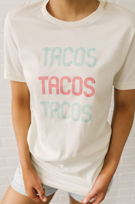 Tacos Tacos Tacos Tee - Natural Multi - FINAL SALE