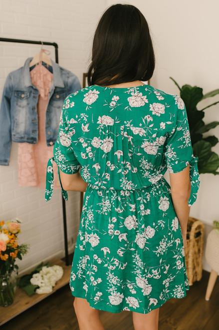 Short Tie Sleeve Button Floral Dress - Green Multi  - FINAL SALE
