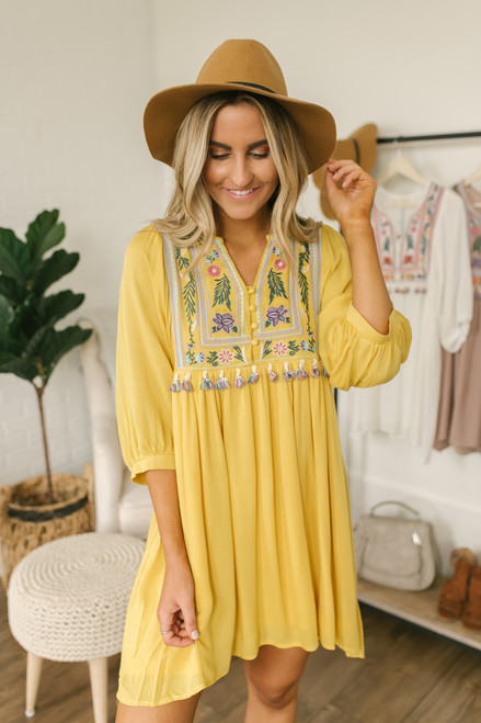 Beach House Tassel Embroidered Dress - Goldenrod Multi