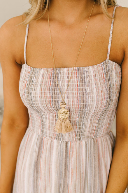 Textured Coin Tassel Dotted Necklace - Gold/Beige