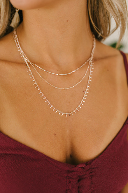 Romantic Reign Layered Necklace - Rose Gold