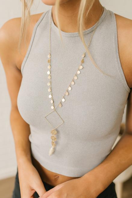 Coin Tassel Statement Necklace - Ivory/Gold