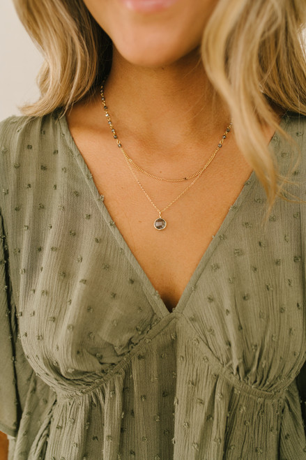 Layered Beaded Dainty Necklace - Gold/Grey
