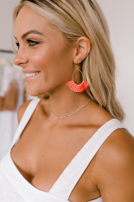 Tassel Statement Earrings - Gold/Coral