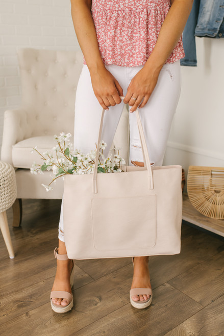 Faux Leather Crossbody Tote - Light Blush - FINAL SALE