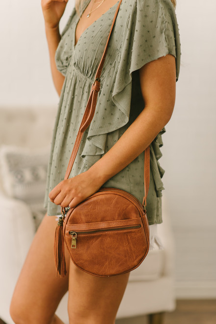 Faux Leather Tassel Circle Crossbody - Brown