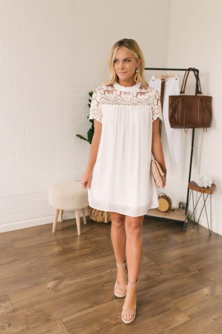 Short Sleeve Lace Detail Dress - White