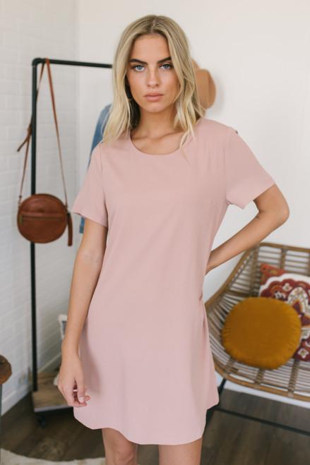Short Sleeve Woven Shift Dress - Blush
