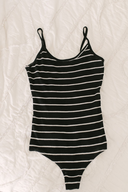 Guinevere Ribbed Knit Striped Bodysuit - Black/White