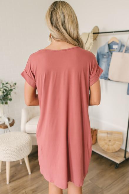 V-Neck Cuffed Sleeve T-Shirt Dress - Marsala