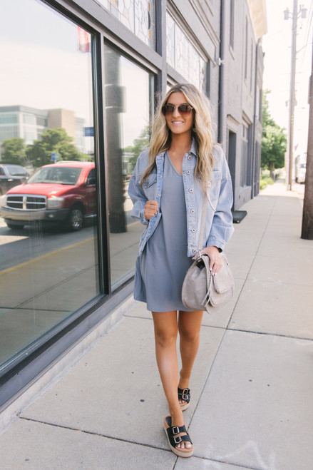 V-Neck Cuffed Sleeve T-Shirt Dress - Grey