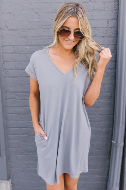 72351991795 V-Neck Cuffed Sleeve T-Shirt Dress - Grey